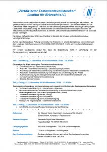 Seminar zertifizierter Testamentvollstrecker 2019
