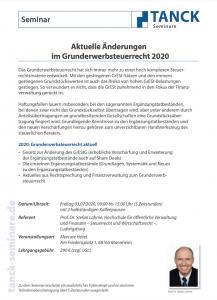 Seminar Grunderwerbsteuerrecht 2020