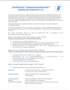 Seminar Zertifizierter Testamentsvollstrecker Oktober 2020